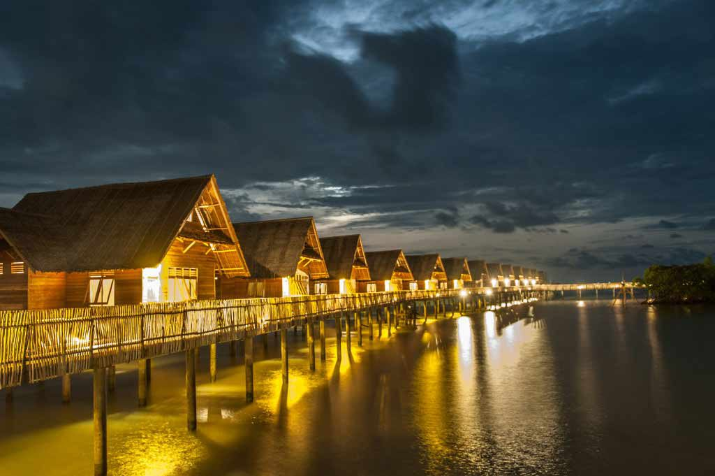 Telunas Resorts Ocean Villas at Night
