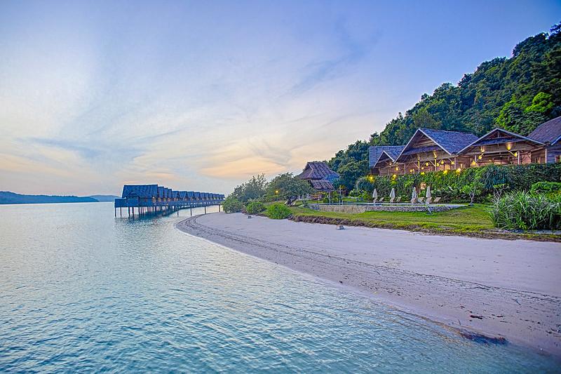 Telunas Private Island at dusk